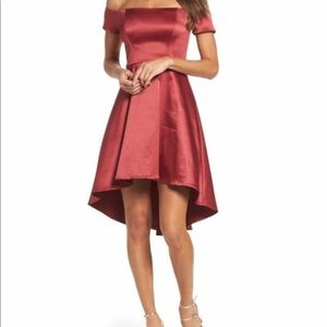 SEQUIN HEARTS SATIN RED DRESS